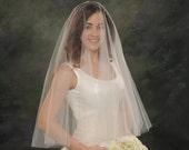 Drape Veil Circular Wedding Veil Ivory 28 front 32 back Blusher Elbow 2 Tier Bridal Veil White