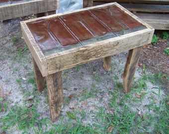 Reclaimed Tin Roof Shingle and Oak End Tables (Pair)