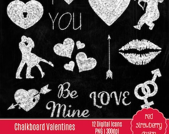 75% OFF Sale - Chalkboard Valentines Icons - 12 Digital Clip Art - Instant Download - PNG (CA155)