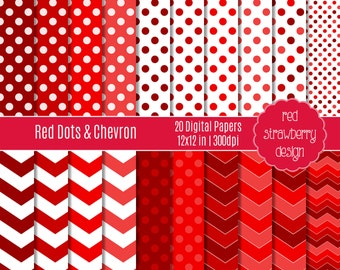 75% OFF Sale - Red Dots and Chevron - 20 Digital Papers - Instant Download - JPG 12x12 (DP147)