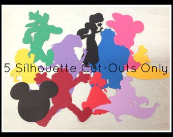 Set of 5 Silhouette Cut-Outs Only: You pick the design and the paper, Great for Parties, Birthdays, Food labels, Decoration, Crafts