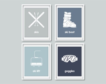 Ski Nursery Decor, Winter Sports Decor, Set of 4 prints, Skiing, Nursery, Home decor, Modern Wall Art