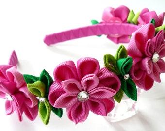 Pink Kanzashi Fabric Flower headband. Pink flower crown headband. Wedding bridal headpiece. Kanzashi flower crown. Floral headpiece