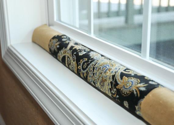 "window draft stopper, paisley home decor, 30"" guard, black, gold brown, draught excluder, narrow door snake, wind blocker dodger, upholstery"