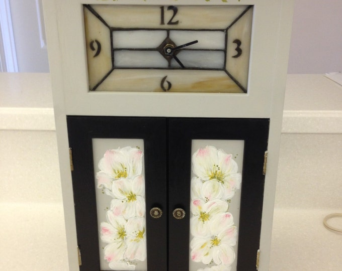 Solid Wood Cabinet with Stained Glass Clock, Decorated with Dogwood Flowers