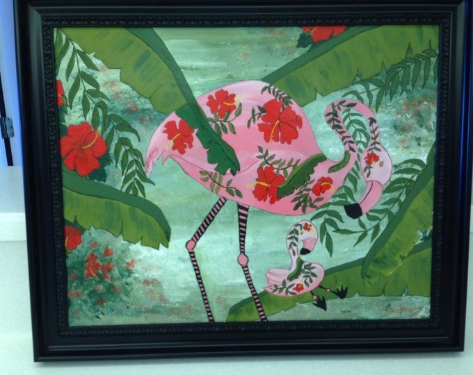 Whimsical Flamingo Mommy and Her Baby Hiding Among the Ferns and Hibiscus