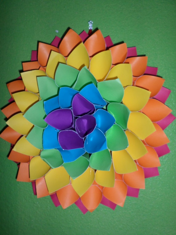 Items similar to Rainbow Paper Dahlia/ Paper Flower on Etsy