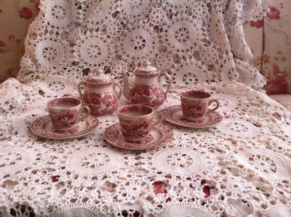 SALE PENDING Antique Delightful Child's Red & White Transferware Tea Set