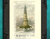 lighthouse decor, lighthouse art, lighthouse art print mixed media, lighthouse on dictionary page, upcycled recycled repurposed book page