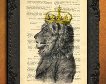 lion king with crown, lion art, lion artwork, lion decor, crowned lion on dictionary page, lion print wall decor, leo