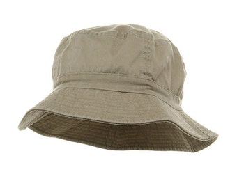 100% Cotton Stone Washed Bucket Hat   Khaki Color