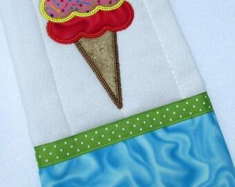 Burp cloth, embroidered ice Cream Cone Burp Cloth, Double Scoop Cone Embroidery Design, Green and Aqua Trim,  baby item, baby accessory