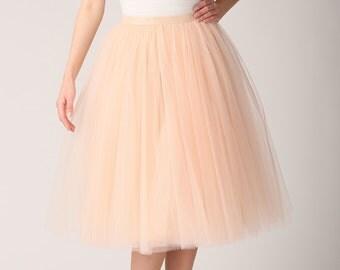 Champagne tutu skirt, Handmade long skirt, Handmade tulle skirt, High quality skirt, Tea length petticoat, Tea length skirt