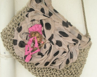 Beige hand knitted hemp purse with fuchsia ribbons and dotted gauze  embroidery