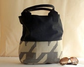 Exclusive handmade tote bag in two fabric: english wool and maxi houndstooth
