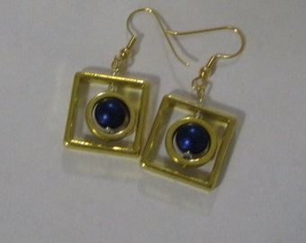 UP-Town Earrings with Blue Bead and Gold Plate Wires