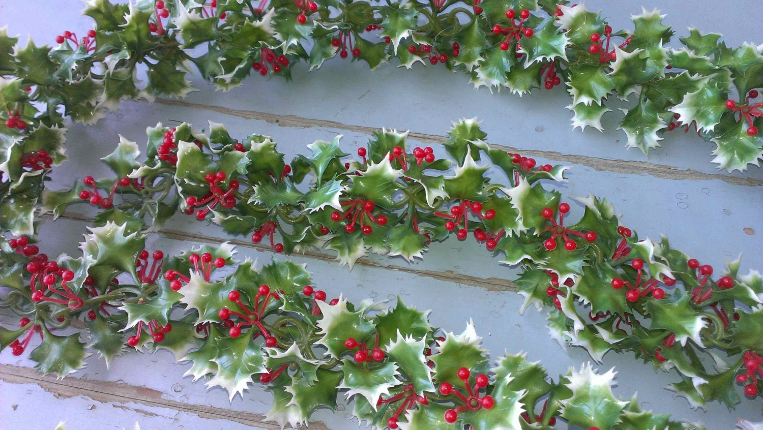 Vintage christmas holly garland over yds by tobejolly