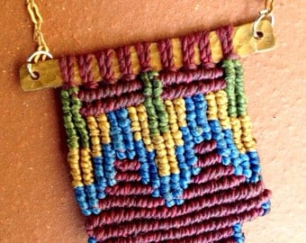 Colorful Fiber and Brass Macrame Pendant