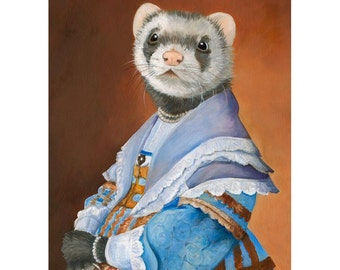 Ferret, Canvas Prints, Ferret in a Blue Dress, Ferret in Clothes, Ferret Art