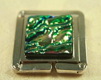 Purse Hanger,  Dichroic Glass, Purple/Green Ripple Glass, ph15
