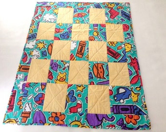Baby Quilt, Crayons Quilt, Primary Colors Quilt, Red Blue and Green, Crayon Quilt, Crib Quilt, Boy Quilt, Girl Quilt