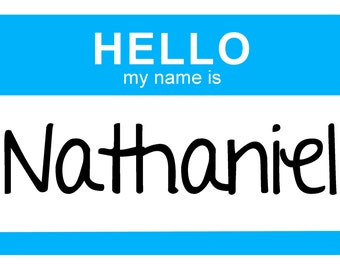 Newborn Baby Hello My Name Is.... Personalized Iron on Transfer for baby boy - Dark Blue