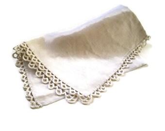 Vintage Linen Ivory Bureau Scarf or Tea Towel with Cotton Crochet-23x14-Tatting-Estate Linens-Cottage Chic Home Decor-Wedding-Photo Prop