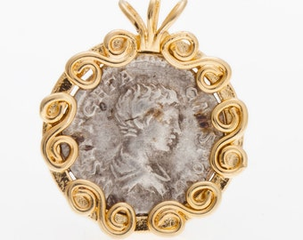 Coin Pendant, 14K Yellow Gold Pendant, Alexander the Great Ancient Coin