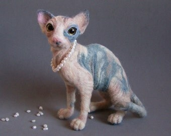 Pet Portrait Sphynx cat - Wool animal sculpture- eco friendly art-Collectible artist animals-needle felted cat-soft toy- personalised gift