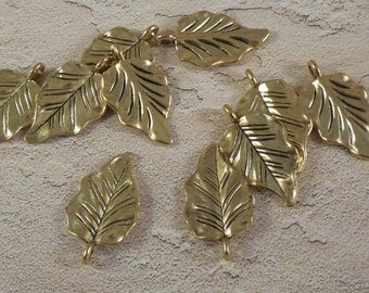 "10 Gold Leaf Charms - 1"" Long x 3/4"" Wide - F-023"