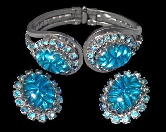 Vintage Judy Lee Blue Rhinestone Cabochon Earrings & Bracelet