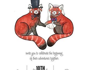 Red Panda Wedding Invitation Set- Red Panda Wedding invitation- Custom Animal Wedding Invitation-from original watercolor painting