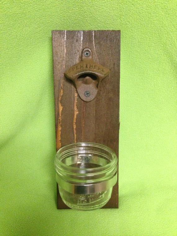 items similar to rustic wooden bottle opener cypress beer cap catcher cast iron gift groomsman. Black Bedroom Furniture Sets. Home Design Ideas