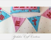 Fabric Floral Name Bunting  Personalised Handmade Childrens Girls letters Garland Flags  Blue Red Flower