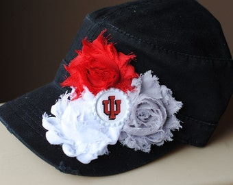 Womens Indiana University Hats, Womens Baseball Caps, Distressed Military Cadet flower hat. Shabby Chic Bling Womens Hat Black Womens Hat