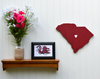 "South Carolina Gamecocks  ""State Heart"" wall art, handcrafted wood with official team colors"