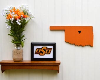 "Oklahoma State Cowboys ""State Heart"" wall art, handcrafted wood with official team colors"