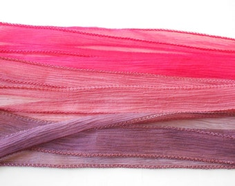 Hand dyed Silk Ribbon for bracelet necklace - Set of 3 - bordeaux - grenat - magenta