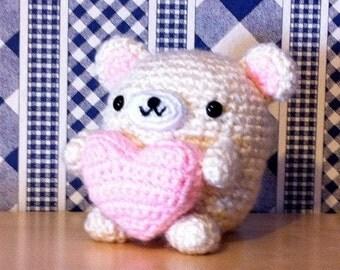 Kawaii Amigurumi Sweetie Dumpling Bear with Plush Heart