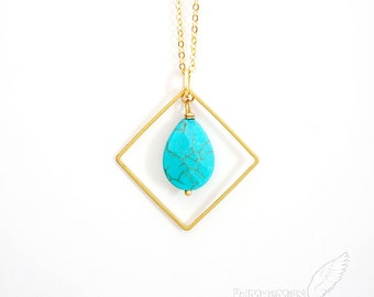 Lightly Faceted Turquoise Howlite, Geometric, Square Link, Length Your Choice, Necklace