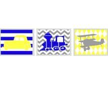 Transportation Nursery Art Print Set   - Boy Room - Car Plane Airplane Train - Blue Yellow Gray Chevro Stripes - Wall Art Home Decor