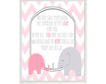 No One Will Ever Know The Strength Of My Love Quote -  Elephant Nursery Art - Typography Baby Girl- Gray Pink Chevron Wall Art Print
