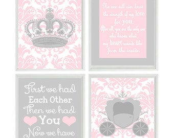 Princess Art Print Set - Pink Gray - No One Will Ever Know Quote - First We Had Eachother Girl Nursery - Wall Art    Prints