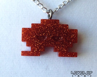 Space Invader Necklace Dark Orange (old version/wide) *** FREE SHIPPING ***