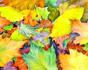 Original Watercolor painting or Digital Print of Fall Colors also available in All Occasion, Note, or Gift cards