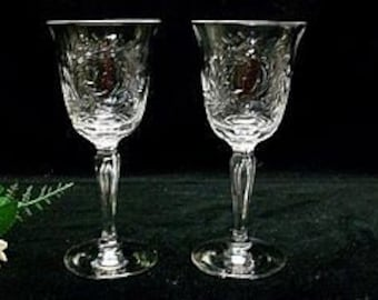 Pair Of Tiffin Richelieu Cutting Wine Goblets