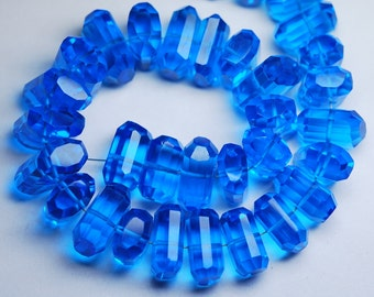 8 Inch Strand, BLUE Quartz Faceted Fancy Cut Nuggets Shape,12-16mm Long,Great Price