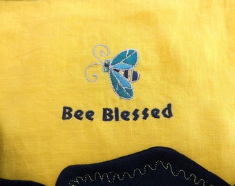 174 Bee Blessed 100% Lightweight Linen Two Toned Wrap Tie Half Apron