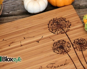Personalized/ Engraved Cutting Board w/ Dandelion Design 11x16 or 9x12, Personalized Wedding Gift,Custom Cutting Board, Mothers Day Gift