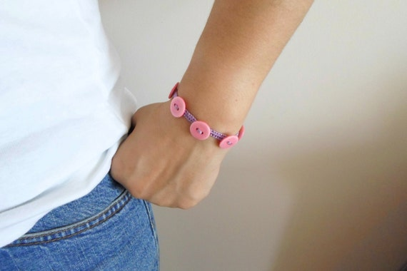 Vintage button bracelet. Metal Free pink macrame button bracelet. Flower girl